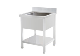 Single sink with under shelf