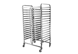 Double line 16 Tier x 2 bakery bun pan trolley